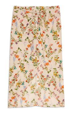 Peach Floral Wrap Skirt