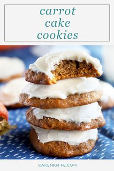 Chewy carrot cake cookies are the easy way to get your carrot cake fix! With a light and fluffy cream cheese frosting, the spiced treats are super tasty. Salted Chocolate Chip Cookies, Carrot Cake Cookies, Yummy Cookies, Kid Desserts, Dessert Recipes, Spring Desserts, Recipes Dinner, Delicious Cookie Recipes, Sweet Recipes