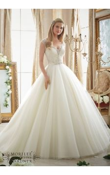 Wedding Dress 2875 Intricately Beaded Embroidery on Circular Tulle Ball Gown