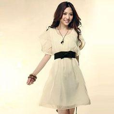 New Fashion Hot Fashion Women's Lady Short Sleeve Neck Chiffon Casual Dress Roll Wave Spins Mini