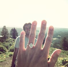 cute idea for the first engagement pic that goes on FB/instagram