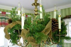 beautiful Christmas chandelier decorating!