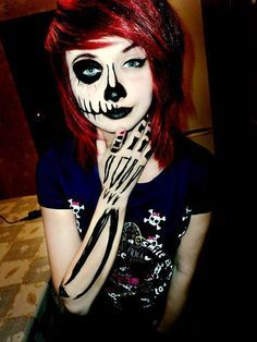 emo girl half skeleton makeup · Creepy HalloweenHalloween MakeupHalloween CostumesHalloween ...  sc 1 st  Pinterest & Emo/scene hair; skull makeup. I totally would love this for ...