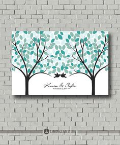 Weddings - Guest Book Alternative - Wedding Tree - Blue Wedding - Wedding Poster - Guestbook Ideas - Wedding Sign In - Wedding Art Print