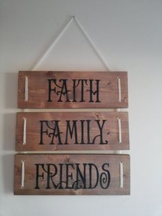 Faith Family Friends Rustic Wood Sign by ValaCreations