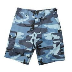 Poly/cotton blend Button fly Adjustable waist tabs 6 pockets Military Style Shorts, Army Navy Store, Battle Dress, Men's Swimsuits, Camo Shorts, Textiles, Short Shirts, Blue Camo, Hunting Clothes