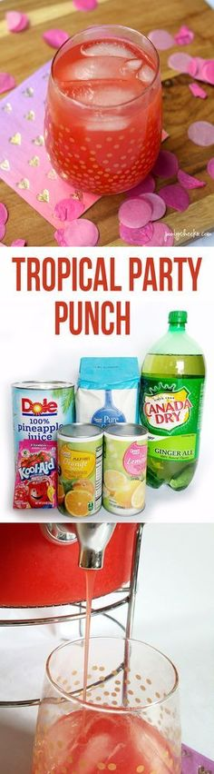 Tropical Party Punch Recipe (non alcoholic beverages vodka) Kid Drinks, Non Alcoholic Drinks, Summer Drinks, Cocktail Drinks, Cocktails, Sparkling Drinks, Fruit Drinks, Drink Recipes Nonalcoholic, Frozen Drinks