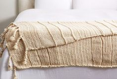 Chunky Knit Wool Throw, Beige