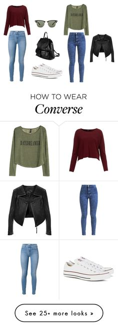 """"""":3"""" by klara17 on Polyvore featuring Miss Selfridge, H&M, Converse, PARENTESI, Ray-Ban and Linea Pelle"""