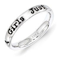 "Girls Just Want to Have Fun Sterling Silver Stackable Expressions Lyric Ring - Polished sterling silver Stackable Expressions enameled lyric ring with the phrase "" Girls Just Want to Have Fun "" followed by a miniature image of a high heel shoe, in black enamel and rhodium-plated finish. Ring band measures 3.25mm. Available in various sizes."