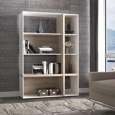 BIANKO Étagère style contemporain blanc et décor chêne - L 113,8 cm - Achat / Vente meuble étagère BIANKO Étagère meuble L113,8cm - Cdiscount
