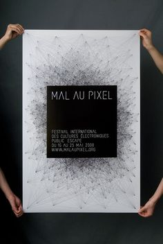"""Mal au pixel"" - communication of the 3rd edition of the festival ""Mal au pixel"", May 2008 by Akatre Atelier"