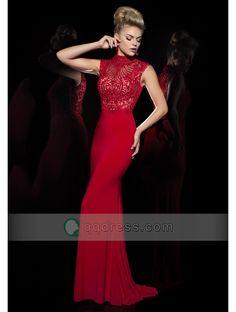 Buy Sheath High Neck Sweep Train Jersey Prom Dress with Beaded Bodice - QQdress.com
