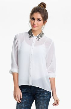 Lush Embellished Collar Shirt (Juniors) available at #Nordstrom
