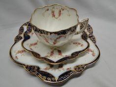 Royal Grafton Blue Floral Hand Painted Teacup Trio