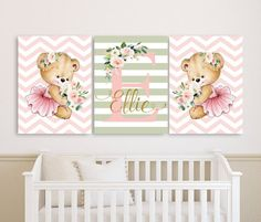 Baby Girl Nursery Wall Art Canvases, Teddy Bear, Baby Name Sign, Personalized Nursery Canvas, Baby Girl Monogram Nursery Canvas Set of 3 Nursery Frames, Nursery Monogram, Nursery Canvas, Nursery Paintings, Nursery Wall Decor, Nursery Prints, Girl Nursery, Canvas Wall Art, Baby Painting
