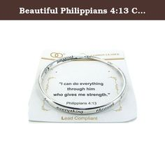 Beautiful Philippians 4:13 Christian Silver Tone Bangle Bracelet. Mom, Daughter, Sister, Best Friend, Grandma, Inspirational, Girl, Woman, Pandora Style, Morano Beads, Magentic, Stretch, Lobster Clasp, Bangle, Cuff, Bangle, Cute, Girl, Breast Cancer, Animal, Garden, Sea Life, Christian, Family Theme, Pink is the color of Strength, The ribbon is a symbol of Hope, Together it is a sign of Victory. School Teacher, Animal, Garden, Salt Life, Dolphin, Whale, Sand Dollar, Anchor, Sailing...