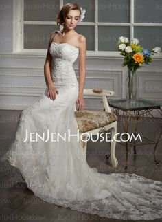 Wedding Dresses - $215.99 - Mermaid Sweetheart Court Train Satin  Tulle Wedding Dresses With Lace  Beadwork (002000641) http://jenjenhouse.com/Mermaid-Sweetheart-Court-Train-Satin--Tulle-Wedding-Dresses-With-Lace--Beadwork-002000641-g641