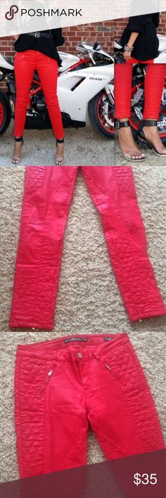 Zara Coated red Moto pants Excellent condition. Only worn a few times. Zara Pants