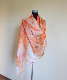 Peach silk scarf summer scarves  handpainted silk scarf