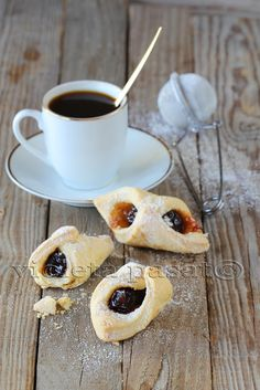coffee and vanilla crescent rolls with whole cherry jam....YUMMY!