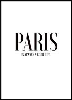 Black and white cleanly designed typography poster about Paris.