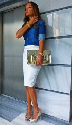 total look con la falda blanca, the satchel bag y pulseras Links