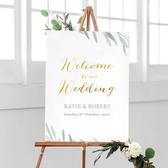 Rustic welcome sign, Olive leaves welcome sign, Botanical wedding sign, Wedding signage