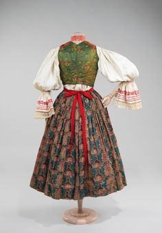 Date: Culture: Slovak. Dimensions: Length at CB (a): 32 in. Length at CB (b): 25 in. Length at CB (c): 12 in. Length at CB (d): 22 in. Traditional Fashion, Traditional Dresses, Historical Costume, Historical Clothing, Armor Clothing, Costumes Around The World, Costume Collection, Folk Costume, Only Fashion