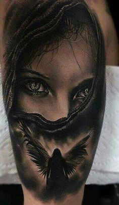 My favorite, feels so familiar! The eyes are killer! May have to be my first tattoo. My favorite, feels so familiar! The eyes are killer! May have to be my first tattoo. Tattoos Bein, Love Tattoos, Sexy Tattoos, Unique Tattoos, Picture Tattoos, Body Art Tattoos, Tattoos For Women, Tatoos, Brust Tattoo