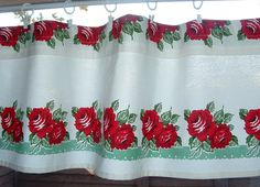 Valance Cotton 35  45 or  52  RED  Retro ROSE by AVintageLook