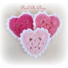 ༺༺༺♥Elles♥Heart♥Loves♥༺༺༺ ...........♥Crochet Bunting♥........... #Crochet #Bunting #Crochetbunting #Garland #Flag #Decorate #Tutorial #Pattern #Vintage #Handmade ♥Handmade Australia 3 x Hand Crochet Hearts Applique Motifs Clips scrapbooking bunting