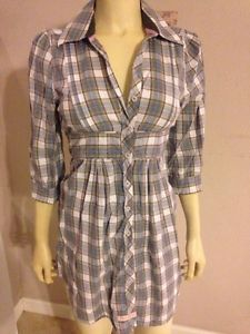 English Laundry Blue Gray Plaid Embroidered Dress S | eBay