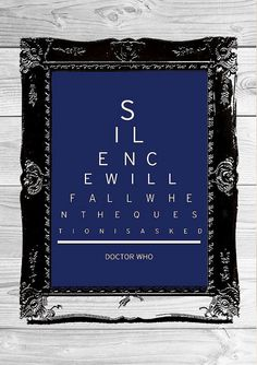 Doctor Who  Silence Will Fall When The Question Is by EyeSpyCharts, £6.49