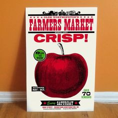 CRISP! This authentic apple letterpress print featuring a beautiful crispy red apple was designed to promote Worthington, Ohio's local Farmers Market. The design inspiration comes from vintage seed packets.  Beautifully printed by Igloo Letterpress on French Paper Companys Madero Beach coverstock. Prints #apple #farmersmarket #letterpress #letterpressprint #art Canning Jar Labels, Vintage Seed Packets, Paper Companies, Letterpress Printing, Red Apple, Is 11, Farmers Market, Crisp, Design Inspiration