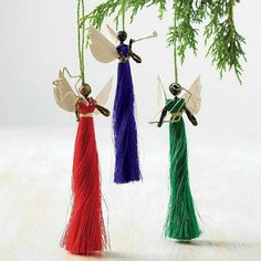 Handmade Angel Ornaments, Handmade angel ornaments - set of three Handmade Angel Ornaments. Christmas Angel Crafts, Diy Christmas Ornaments, Christmas Angels, Simple Christmas, Holiday Crafts, Handmade Ornaments, Christmas Time, Christmas Wreaths, Christmas Gifts