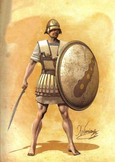 Theban Hoplite (first half of 4th century BC) - Chalkidean helmet with broad visier - Linen cuirass - Hoplite shield with Hercules' bludgeon - Slashing sword (kopis)  Drawing by C.Giannopoulos for Periskopio Editions