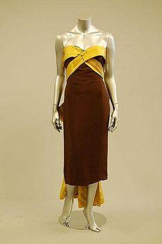 A Lanvin/Castillo couture brown silk crepe evening Guy Laroche, Vintage Clothing, Vintage Fashion, Dior, Jeanne Lanvin, Silk Crepe, Fashion History, Evening Gowns, Royal Blue