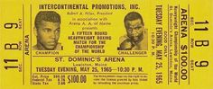 Unused Ticket (Gold Version) to the World Heavyweight Championship rematch between Cassius Clay and Sonny Liston on May 25, 1965 in Lewiston, Maine.