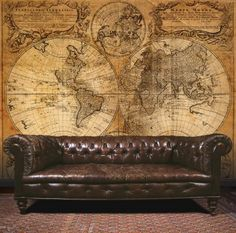 Ancient Map Mural (G45255) - Galerie Murals - A sepia toned photo mural of an old map circa 1746 with the world shown as it was known then. Supplied on a roll 53 cm wide which is hung on the wall in six lengths to create the full mural. Paste the wall product.
