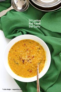 Sri Lankan Red Lentil Curry. Creamy Dal curry Spiced with fenugreek seeds, cinnamon & black peppercorns. Coconut milk adds cooling creaminess. Easy Vegan Gluten-free Soy-free Recipe.