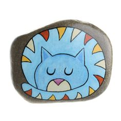 Tabby cat, cat in love, painted rock, painted cat, hanging stone Painted Rock Animals, Painted Rocks Craft, Hand Painted Rocks, Rock Painting Patterns, Rock Painting Designs, Rock Painting Ideas Easy, Pebble Painting, Love Painting, Pebble Art