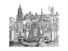 Giclee Print View Of Fortified City 1493 24x18in