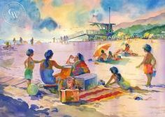 Last Day of Summer, Will Rogers State Park, Pacific Palisades, California art by Sid Bingham. HD giclee art prints for sale at CaliforniaWatercolor.com - original California paintings, & premium giclee prints for sale