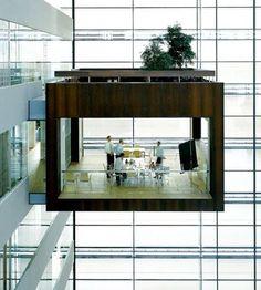 .room.art.Schmidt Hammer Lassen designed very creative rooms that hang 50 feet above the floor of the glassy Nykredit headquarters in Denmark..VsV.