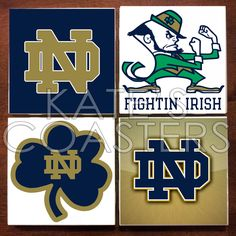 Set of 4 Notre Dame Fighting Irish football NFL by KatesCoasters, $10.00