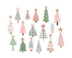 Pretty Christmas Trees, Christmas Background, Pink Christmas, Christmas Holidays, Christmas Crafts, Christmas Decorations, Holiday Decor, Christmas Tree Graphic, Christmas Tree Art