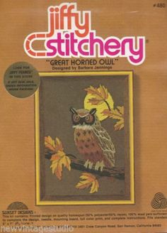 Vintage-Jiffy-Stitchery-Kit-480-GREAT-HORNED-OWL-5-x-7-NEW