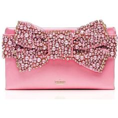 Kate Spade Evening Belles Lucinda (9.665 ARS) ❤ liked on Polyvore featuring bags, handbags, clutches, purses, pink, pink hand bags, bow purse, evening purses, handbag purse and pink clutches