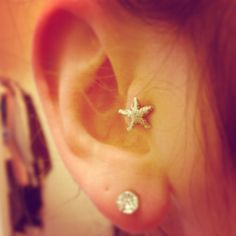 Starfish tragus because mermaid hair is why. Tragus Piercing Jewelry, Tragus Earrings, Tragus Piercings, Body Piercings, Piercing Tattoo, Jewelry Tattoo, Ear Jewelry, Body Jewelry, Cute Piercings